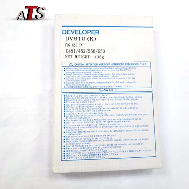 2PCS Developer DV610 For Minolta C451 C452 C550 C552 C650 C652 copier toner C 451 452 550 552 650 652 Developer Powder in Black 625g compatible dv511 developer for minolta bh420 421 500 501 7145 copier parts