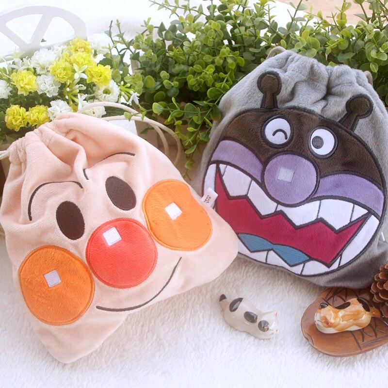 IVYYE 1PCS Anpanman baikinman Cartoon Drawstring Bags Cute Plush storage handbags makeup bag Coin Bundle Pocket