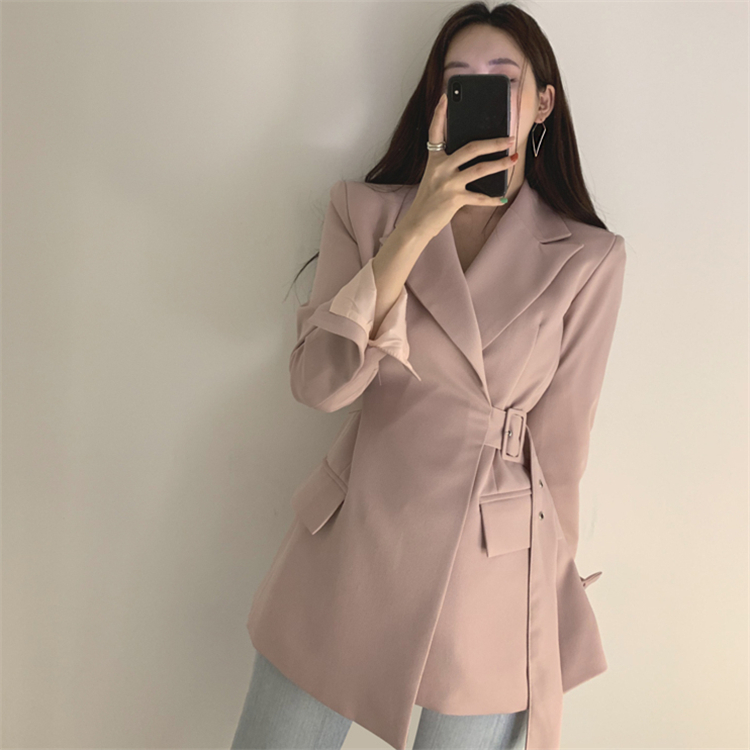HTB19CwobeL2gK0jSZPhq6yhvXXaP Colorfaith New 2019 Autumn Winter Women Jackets Office Ladies Lace up Formal Outwear Elegant Solid Pink Black Tops JK7042