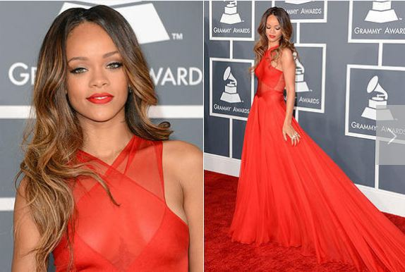 Red long dress rihanna