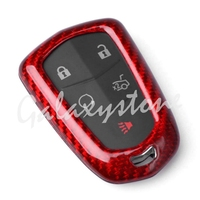 Red Carbon Fiber Auto Car Remote Key Cover Case Protective Shell Fits Cadillac CTS ATS V