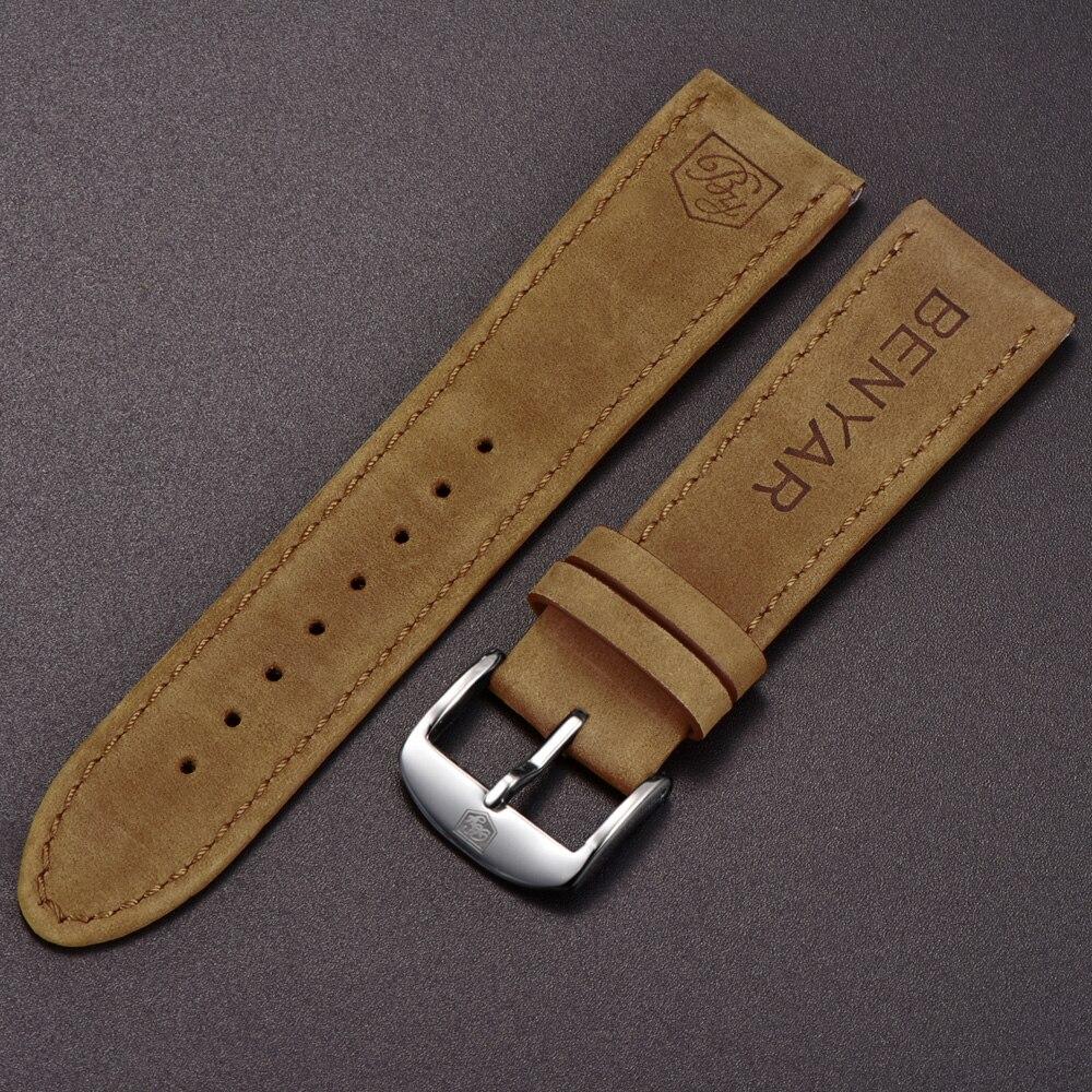 Original BENAYR correa de cuero para BY-5102M banda reloj ancho 22mm para BY-5104M