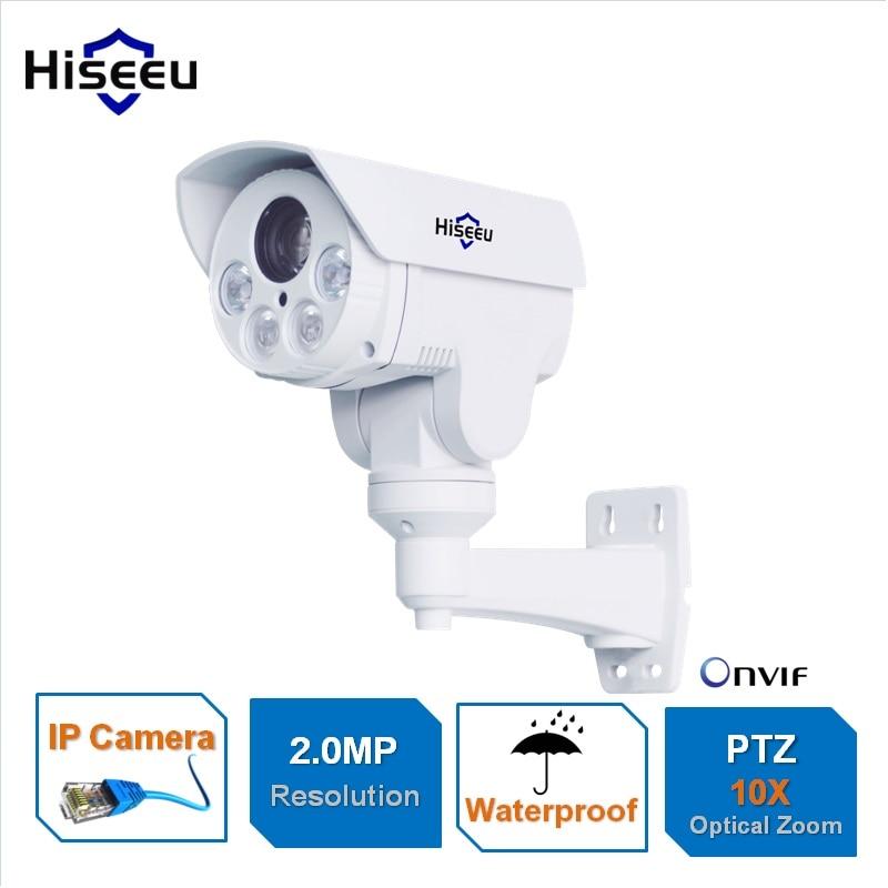 Full HD 1080P 10X Zoom PTZ mini IP Camera 2.0MP Bullet HD Project Night Vision Waterproof IRCUT ONVIF P2P ONVIF POE Hiseeu texet full hd 1080 плеер