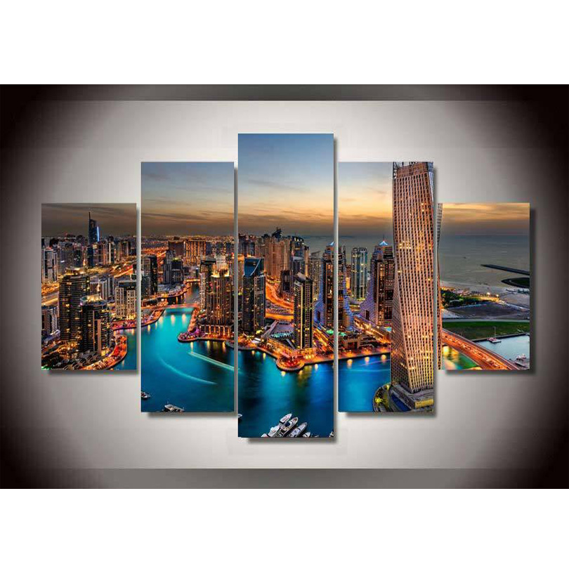 Fashion Canvas Printings Dubai City Skyscrapers Painting Wall Art Home Decoration Poster Canvas Unframed Free shipping