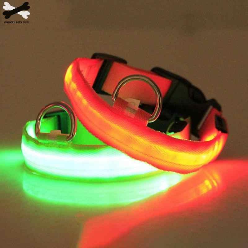 Anjing Kerah Nilon LED PET Malam Keselamatan Berkedip Glow Dalam Gelap Anjing Tali Leher Band Bercahaya Neon Kerah Hewan Peliharaan supplie23