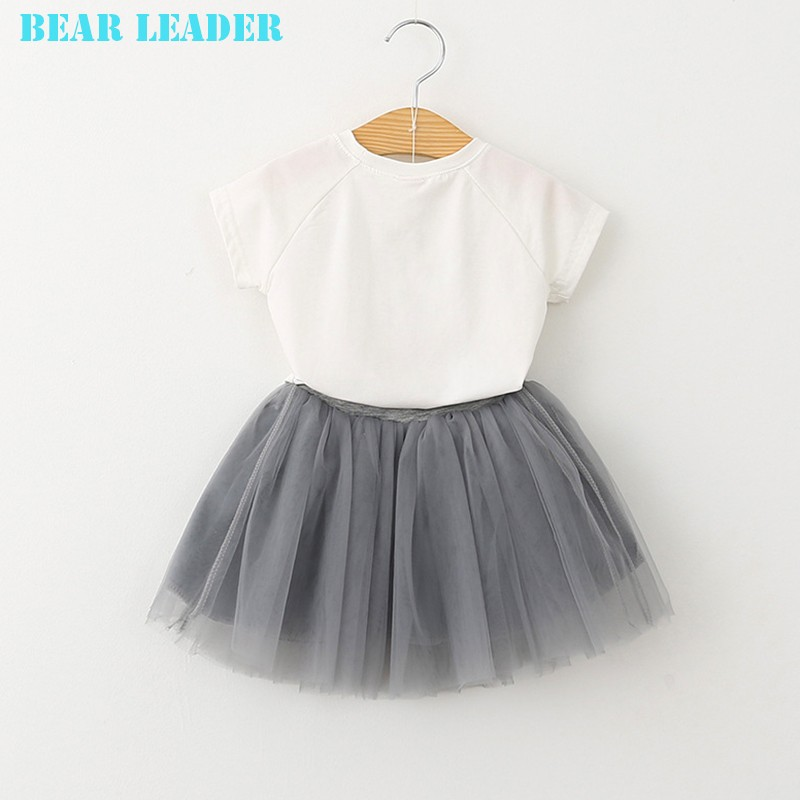 Bear Leader Girls Clothing Sets New Summer Fashion Style Cartoon Kitten Printed T-Shirts+Net Veil Dress 2Pcs Girls Clothes Sets 30