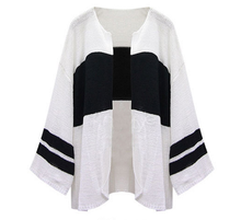 2016 Autumn Cardigan Casual Crochet Hit The Color Long-sleeved Loose Cardigan Sweater Coat Shawl Gary White As1616