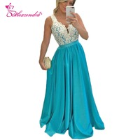 Alexzendra Sky Blue Long Chiffon Prom Dresses for Girls V Neck Illusion Back Evening Gown Party Women Gown