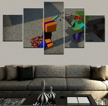 Home Decorative Canvas Wall Art For Living Room 5 Panel Minecraft Zombie Painting HD Prints Game Poster Decor Unique Framework