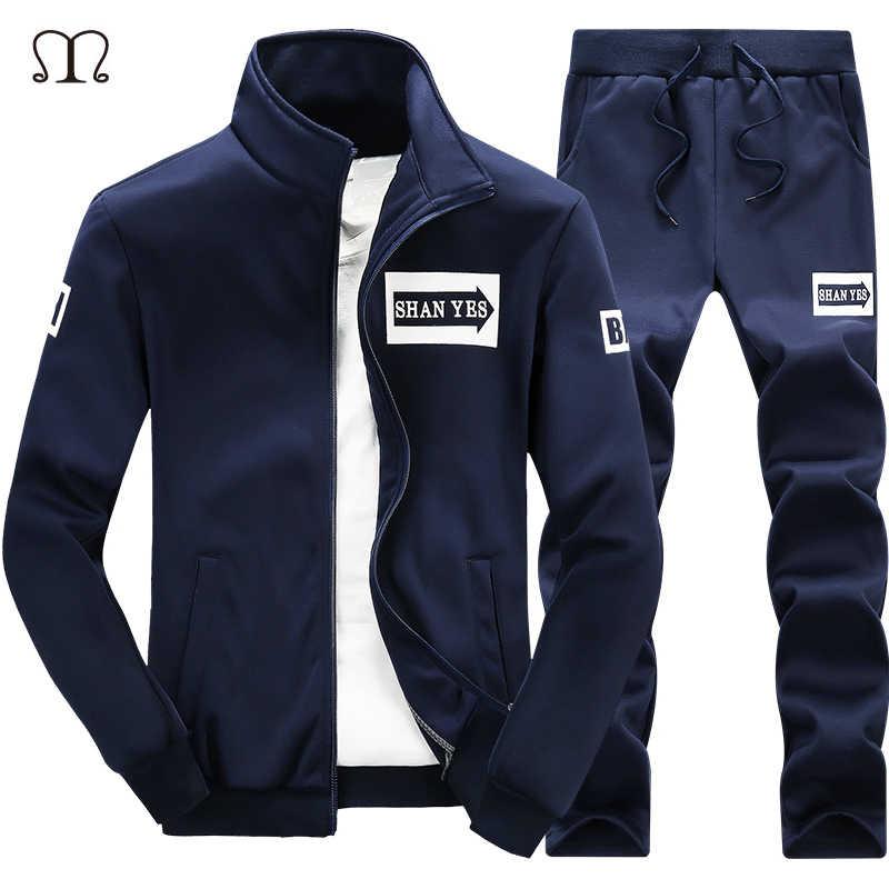 冬のスウェットシャツの男性トラックスーツ Chandal Hombre ウォームスーツセットブランド男性スポーツウェアセットレジャー衣類メンズ