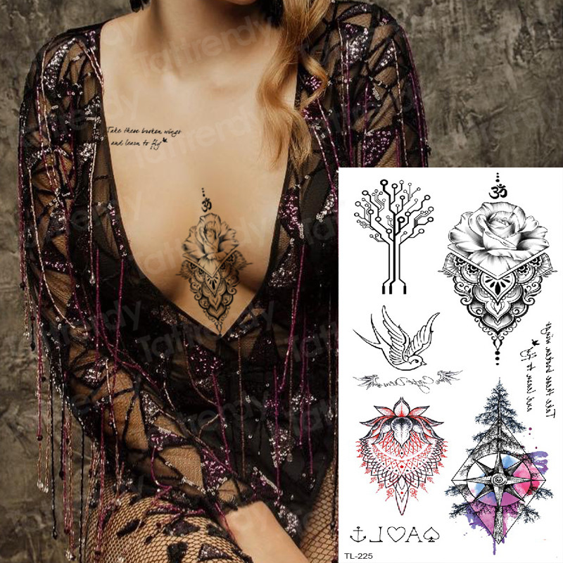 Temporary Fashion Tattoos Underboob Sexy Mandala Sternum Temporary Tattoo Sticker Woman Tattoo And Body Art Tatoo Compass Birds