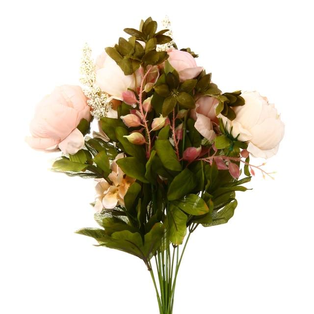 1pc fake pink flowers artificial silk peony bouquets fake leaves 1pc fake pink flowers artificial silk peony bouquets fake leaves flower for home hotel wedding party mightylinksfo