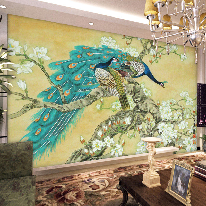 Vintage home decor chinese wallpaper mural tv background for Home decorations peacock