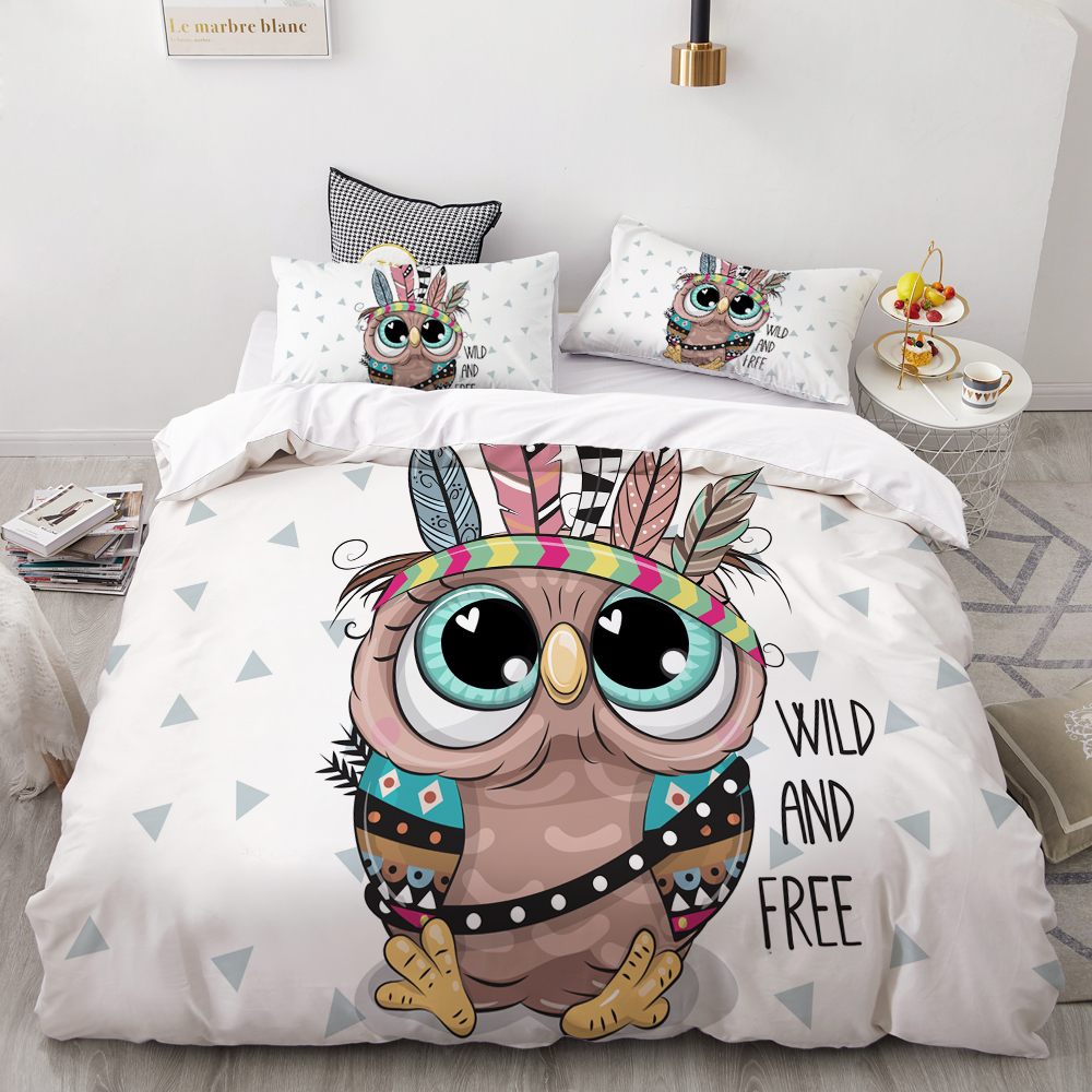3D Cartoon Bedding Set For Kids/Baby/Child/Boy/Girl,Duvet Cover Set Custom/Europe/King,Cute Indian Owl Quilt/Blanket Cover Set