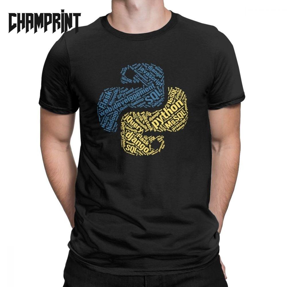 Python Programmer   T  -  Shirt   for Men Cotton   T     Shirts   Computer Software Developer Programming Coder Coding Tees Graphic Clothing