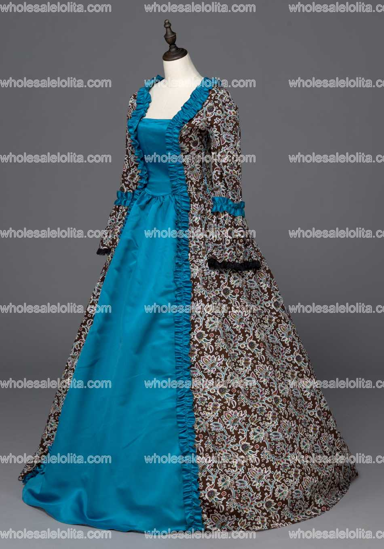 Renaissance Victorian Period Dress Antique Floral Print Gown ...