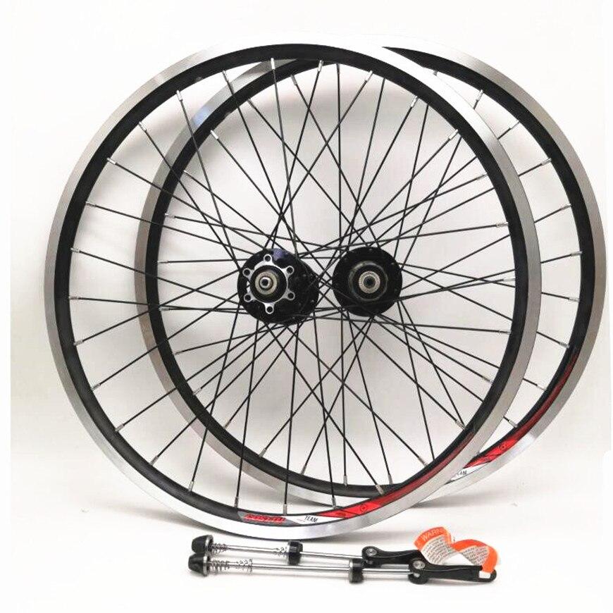 20 polegada 406 Folding Bike Bicicleta Rolamentos selados Hub Novatec Disco/Freio V Preto Completo Conjunto de Roda Rodas 451 100/130