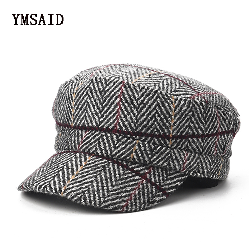 Detail Feedback Questions about Ymsaid Women Plaid Berets Fashion Artist  Painter Octagonal Cap Autumn Winter Warm Beret Hat Vintage Wool Beret on ... 9465c26d63cf
