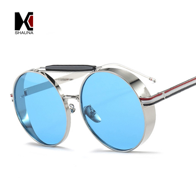 55548e51c4 SHAUNA Oversize Thick Metal Frame Women Round Sunglasses Retro Double  Bridges Men Blue Tinted Lens Goggle Shades UV400