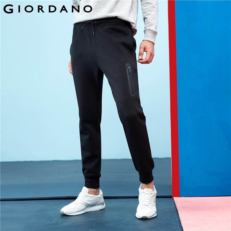 Giordano Men Interlock Jogger Pants Zip Pocket Sweatpants Men Elastic Waistband Casual Pants Pantalon Hombre