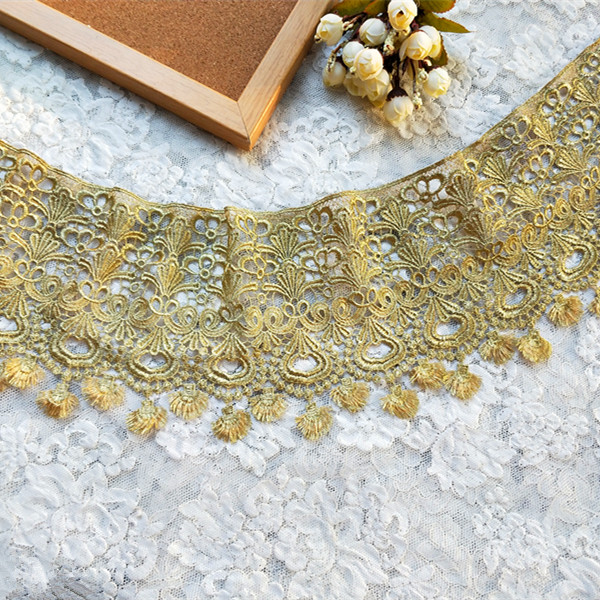17cm 6.7 Wide 3Yards/lot Victorian Antique Embroidery Lace Trim in Metallic Gold, Gold Lace for Wedding Gown, Costume Design image