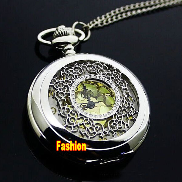 2016 New High quality Vintage Silver Hollow Flower Pocket Watch Steampunk Neckla