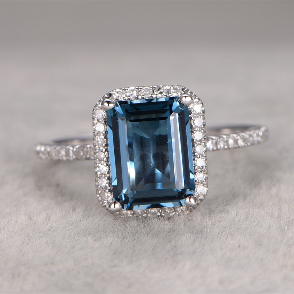 Emerelad Cut 6x8mm 1.5CT London Blue Topaz Engagement Ring 14k White Gold  Gemstone Engagement Wedding Ring In Rings From Jewelry U0026 Accessories On ...