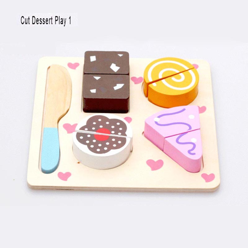 DIY Wooden Cut Fruit Vegetables Dessert Play Kitchen Toys for Children Kid Pretend Play Cooking Puzzle Educational Toy Best Gift
