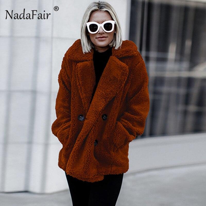 Nadafair plus size fleece faux fur jacket coat 1