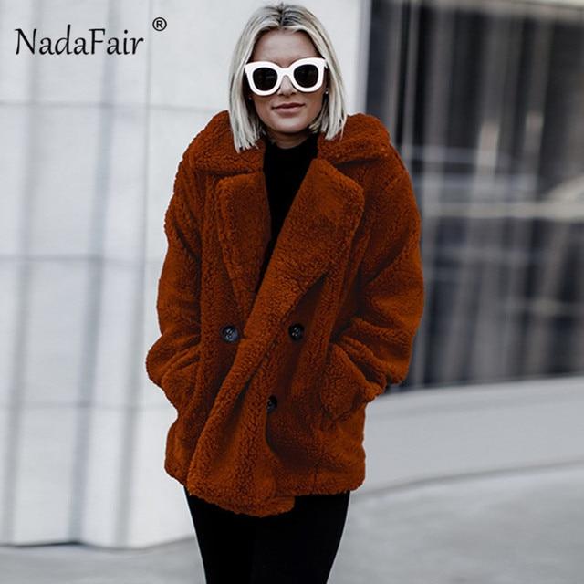 Nadafair plus size fleece faux fur jacket coat women winter pockets thick teddy coat female soft plush overcoat veste fourrure 1