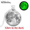 2019 neue Mode Glowing Schmuck, Volle Mond Glowing Halskette, glas Galaxy Cabochon Volle Mond Halsketten Glow in The Dark Schmuck