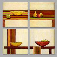 4pcs Still life bowl foods picture decoration green apple pear table Canvas Painting wall Art for living room print unframed