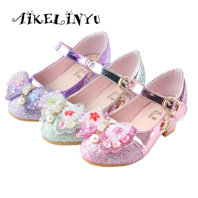 6a53e75747 Girl Princess Shoes Spring Fashion Girl High Heeled Spring Shoes Bow Elsa  Anna Leather Shoes Kids Purple Pink Silver Party Shoes