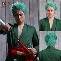 ONE PIECE Anime Roronoa Zoro Men Short Green Wavy Hair Cosplay Costume Full Wigs