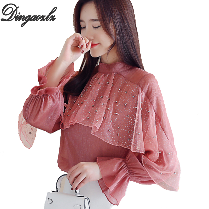 Dingaozlz blusa feminina New fashion Ruffles Tops Beaded Long-sleeved Women Chiffon shirt Casual Ladies blouse