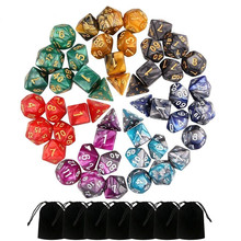 49 шт двухцветные многогранные кости для подземелья и драконов настольные игры