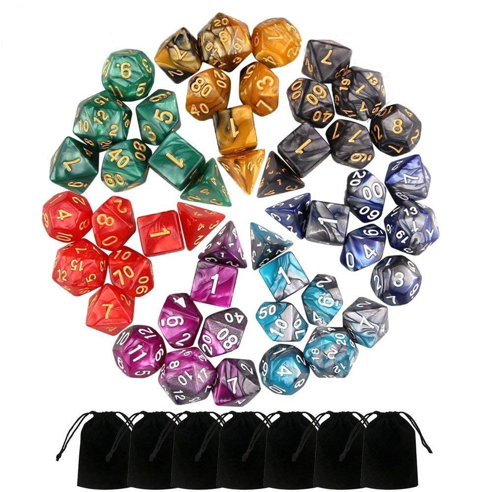 49 PCS Double-Colors Polyhedral Dice For Dungeons And Dragons Table Games