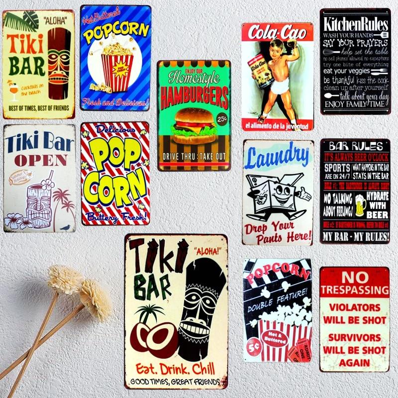 Tiki Bar Tin Signs Kitchen Rules Metal Plate Garage Wall Pub Restaurant Home Art Decor Vintage Iron Poster Cuadros A-1009(China)