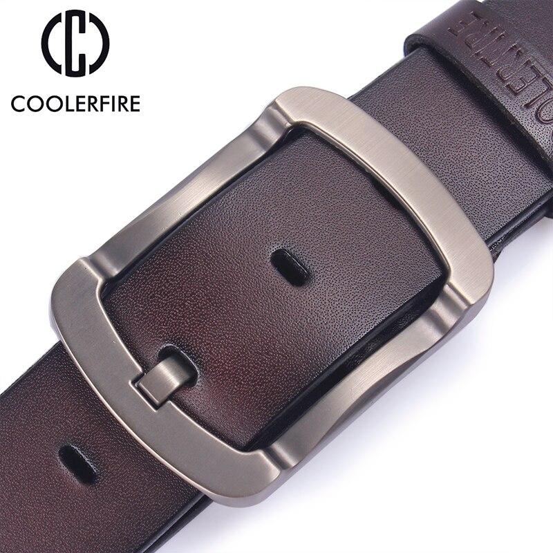 Coolerfire 2017 de moda de piel de vaca de cuero genuino cinturón negro de los hombres jeans Correa hombre vintage casual los hombres HQ024
