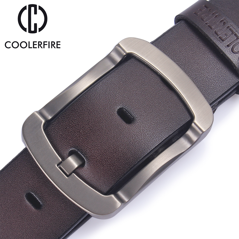 Coolerfire 2017 Fashion Cowhide Genuine Leather Belt Men Black Jeans Strap Male Vintage Casual Men Belts  HQ024