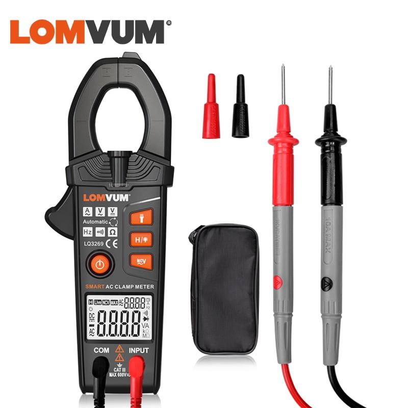 LOMVUM Inteligente Alicate Amperímetro Digital de Não-Contato 6000 Contagem AC DC Tensão Corrente Ture Rms NCV Multímetro Freqüência LEVOU lanterna