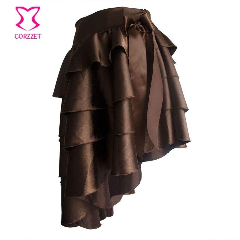 Steampunk stupňovitý volánový satén asymetrický viktoriánské sukně dámské burleskní neelastický pas opuštěný gotická sukně s lukem