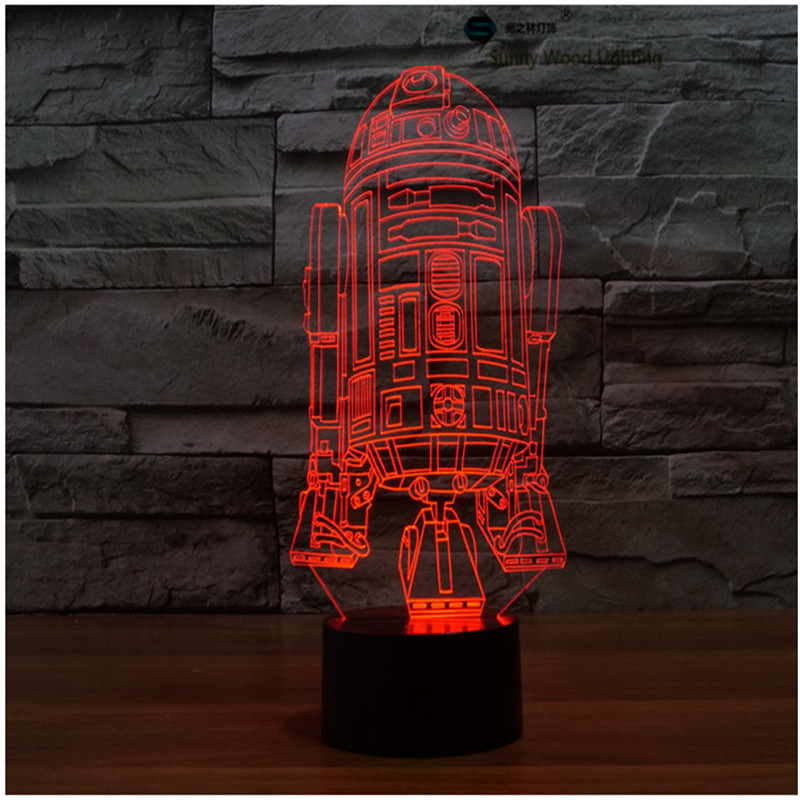 warship star wars touch LED 3D lamp,Visual Illusion 7color changing 5V USB for laptop,Christmas cartoon toy lamp