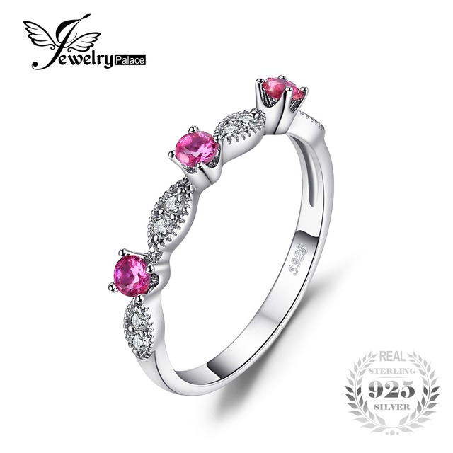 JewelryPalace 3 Stone Round Created Ruby Engagement Wedding Rings For Women 925