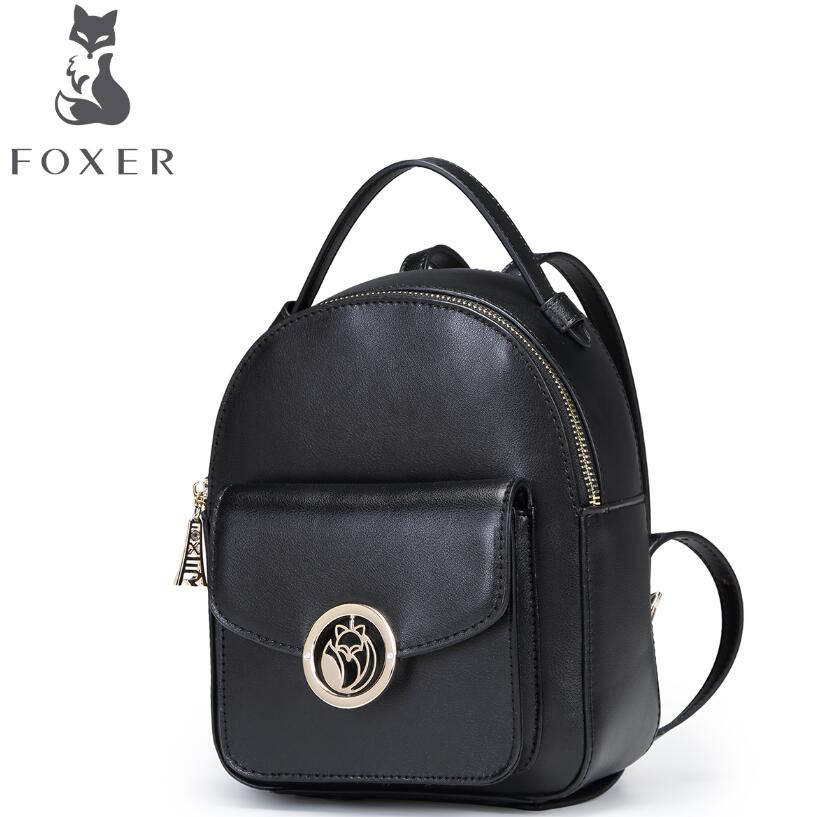 FOXER2017 new high quality luxury fashion Shoulder  counter genuine leather backpack women famous brands women bag 2016 new foxer brand women genuine leather backpack fashion quality women cowhide leisure wild student backpack