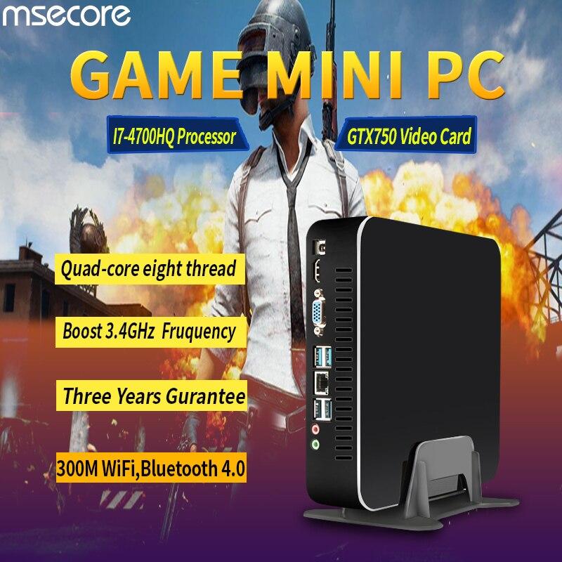 MSECORE игры Quad Core i7 4700HQ GTX750TI DDR5 4G Видео Оперативная память мини ПК рабочего стола Windows 10 компьютерный неттоп barebone системы HTPC WiFi