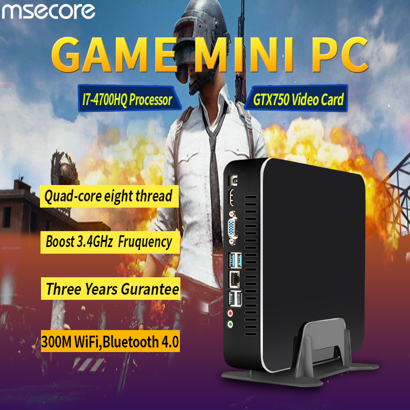 MSECORE Game Quad Core i7 4700HQ GTX750TI DDR5 4G Video RAM Mini PC Windows 10 Desktop Computer Nettop barebone system HTPC WiFi