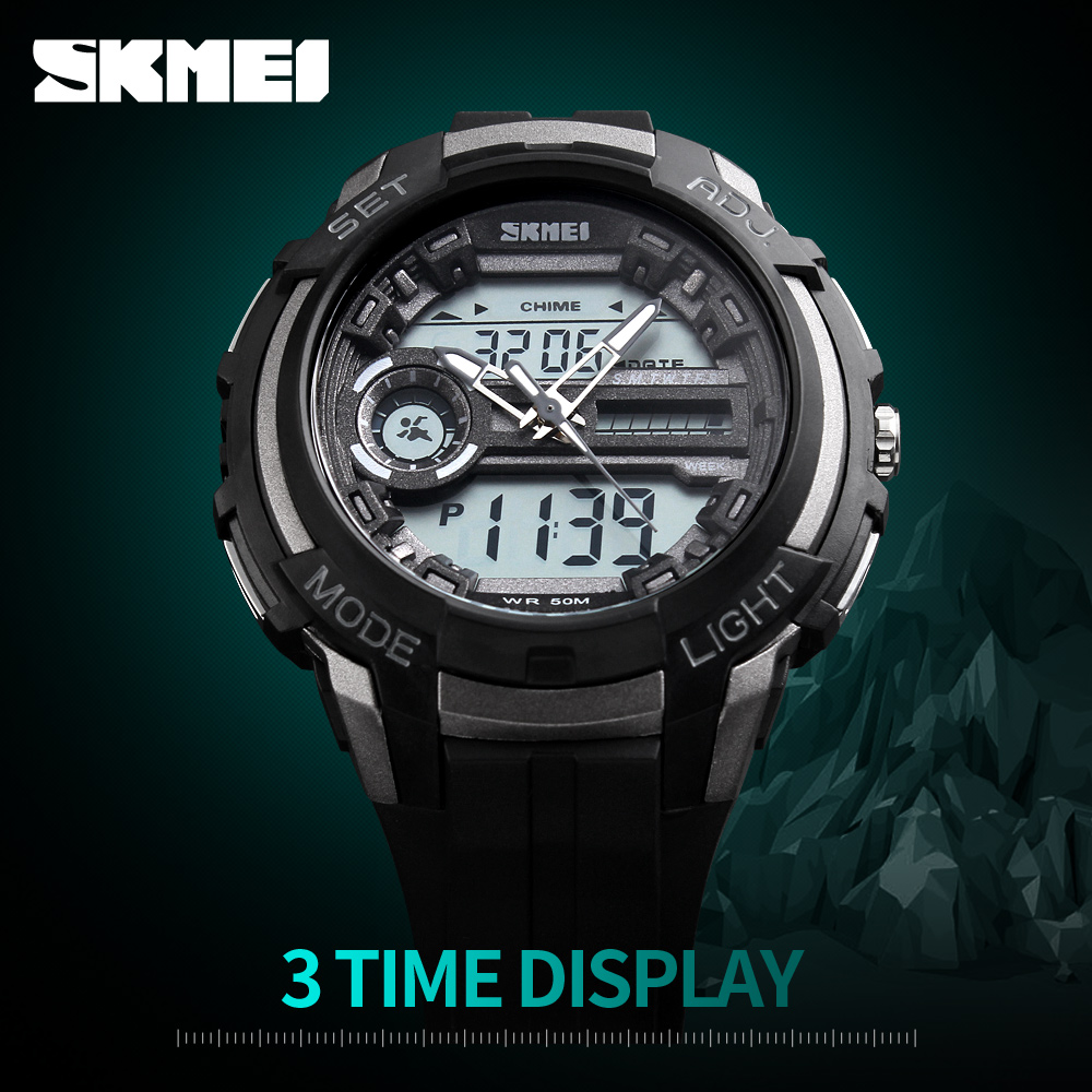 2017 SKMEI Luxury Brand Mens Sports Watches Dual Display Analog LED Digital Quartz-Watch Fashion Diver Military Watch Wristwatch
