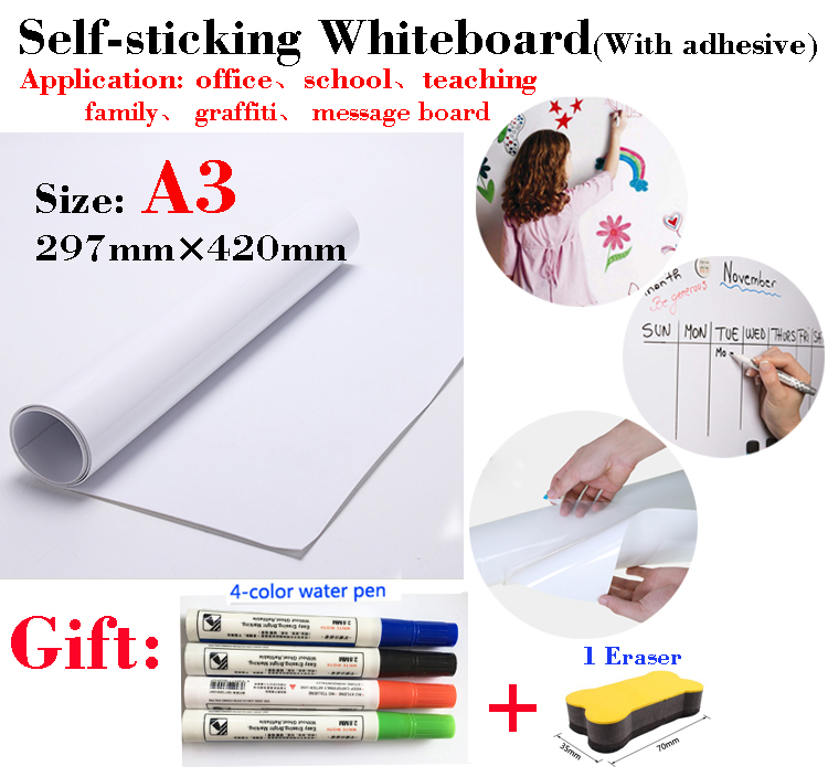 1PCS A3 Size Whiteboard Soft Message Board Suitable For Office Teaching Children's Drawing Graffiti With Self-adhesive Coating
