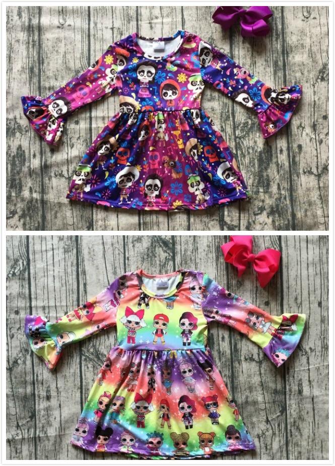 Nueva seda de la leche cartón niñas niños ropa de bebé de algodón otoño/invierno manga larga ruffle dress boutique niños partido desgaste arco clip